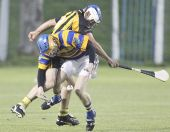 Barry Henley experiencing the rough and tumble of hurling during the Western Junior (Intermediate Attached) Final v Brickey Rangers at Fraher Field