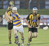 Stephen Flynn shoots for the posts during the Western Junior Hurling (Intermediate Attached) Final at Fraher Field