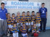 All-Ireland Minor winning players Kevin Daly and Austin Gleeson with the U8 players involved in the Roanmore Charity Blitz