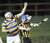 Ian Kiely rises highest in the Western Junior Hurling (Intermediate Attached) Final v Brickey Rangers ar Fraher Field