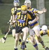 Stephen Flynn focuses on winning the ball during the Western Junior Hurling (Intermediate Attached) Final v Brickey Rangers at Fraher Field