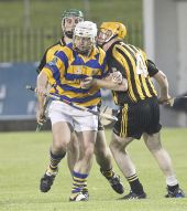 Stephen Flynn battles away from the Brickey Rangers defence during the Western Junior Hurling (Intermediate Attached) Final at Fraher Field