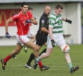 John Hurney sets up an attack during the County Senior Football Championship Final against Stradbally at Fraher Field