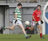 Patrick Hurney kicks for the posts during the County Senior Football Championship Final against Stradbally at Fraher Field