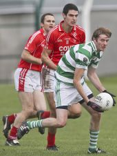 Mark Fives looks for a team mate during the County Senior Football Championship Final against Stradbally at Fraher Field