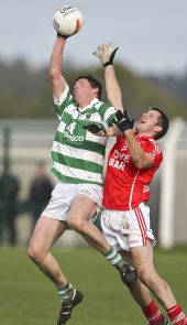 Patrick Hurney climbs highest to secure possession in the County Senior Football Championship Final against Stradbally at Fraher Field