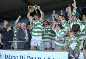 Captain Mark Fives raises the Conway Cup following victory over Stradbally in the County Senior Football Championship Final held in Fraher Field