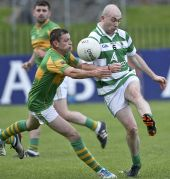Shane Briggs clears his lines during the County Senior Football Championship match against Kilrossanty played at Fraher Field