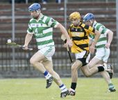 Gary Hurney solos away from his marker during the County Senior Hurling Championship match played at Fraher Field