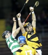 Maurice Power battles for possession during the County Senior Hurling Championship victory over Lismore at Fraher Field