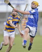 James O'Mahony tries to block a shot from his Mount Sion opponent during the County Senior Hurling Championship Quarter Final at Walsh Park