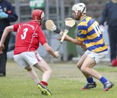 Mark Ferncombe attempts to dink the sliothar away from his opponent during the County Senior Hurling Championship match against Passage played at Walsh Park