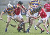 Maurice Power and Richie Foley fighting for possession during the County Senior Hurling Championship match against Passage played at Walsh Park