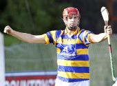 Patrick Hurney celebrates his second goal against Fourmilewater in the County Senior Hurling Championship Quarter Final