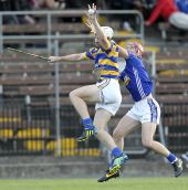 Richie Foley climbs highest during the match v Dungarvan in the County Senior Hurling Championship