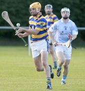 Michael O'Halloran concentrates on setting up an attack during the County Senior Hurling Championship clash against Roanmore in Kill
